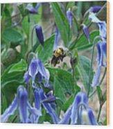 Bee Buzzing Through Blue Beauty Wood Print