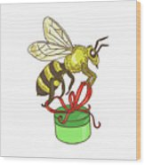 Bee Carrying Gift Box Drawing Wood Print