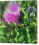 Bee Climbing Into Flower Wood Print