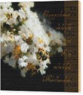 Bee In Crape - Verse Wood Print