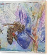 Bee On Blue Lupin Blossom. Wood Print