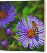 Bee On Lavender Flower Wood Print
