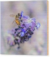 Bee On Sage Wood Print