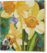 Bee Open By Marilyn Nolan-johnson Wood Print