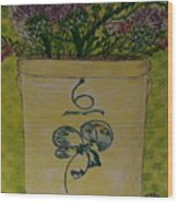 Bee Sting Crock With Good Luck Bow Heather And Thistles Wood Print