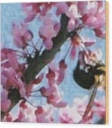 Bee To The Blossom Wood Print