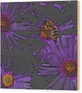 Bee With Asters On Gray Wood Print