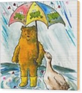 Beebs And Goosey In The Rain Wood Print