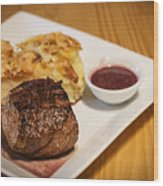 Beef Steak With Potato And Cheese Bake Wood Print