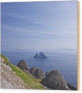 Beehive Stone Huts, Skellig Michael County Kerry Ireland Wood Print