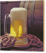 Beer And Pretzels Wood Print