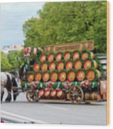 Beer Barrels On Cart Wood Print