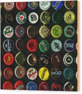 Beer Bottle Caps . 9 To 16 Proportion Wood Print by Wingsdomain Art and Photography