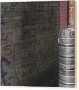 Beer Keggs And Graffiti Wood Print