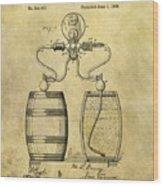 Beer Pump Patent Wood Print