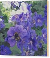 Bees And Flowers Wood Print