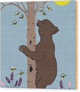 Bees And The Bear Wood Print