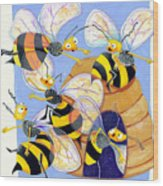 Bees Wood Print