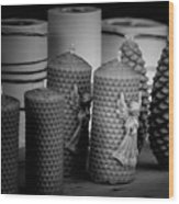 Beeswax Candles With Angels And Pinecones Wood Print