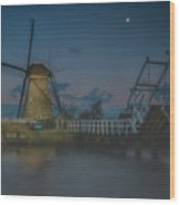 Before The Dawn, Kinderdijk Wood Print