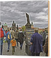 Before The Rain On The Charles Bridge Wood Print