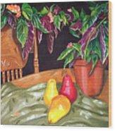 Begonias And Pears Wood Print