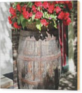 Begonias In The Barrel Wood Print