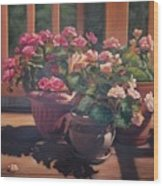 Begonias On Deck Wood Print