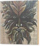 Beguiling Green Man Wood Print