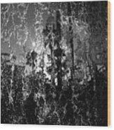 Behind A Waterfall -- B And W Wood Print