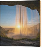 Behind Seljalandsfoss Sunset  Wood Print