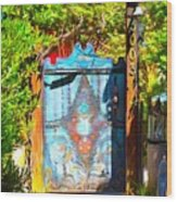 Behind The Blue Door Wood Print
