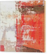 Behind The Corner - Warm Linear Abstract Painting Wood Print