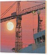 Behind The Crane A Hunter's Moon Rises II Wood Print