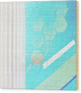 Beige And Turquoise Candy Stripes Wood Print