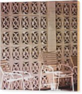 Beige Chairs Palm Springs Wood Print