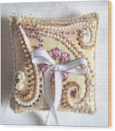 Beige-white Wedding Ring Pillow Wood Print