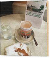 Beignet And Coffee At Cafe Du Monde Wood Print