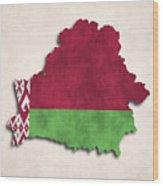 Belarus Map Art With Flag Design Wood Print