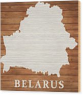 Belarus Rustic Map On Wood Wood Print