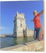 Belem Tower Jumping Wood Print