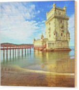 Belem Tower Reflects Wood Print