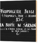 Belgian Cheese And Sardines Menu Wood Print