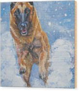 Belgian Malinois In Snow Wood Print
