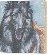 Belgian Tervuren In Snow Wood Print
