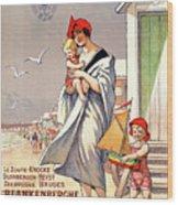 Belgium Ostende Vintage Travel Poster Restored Wood Print