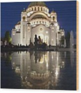 Belgrade Serbia Orthodox Cathedral Of Saint Sava  Wood Print