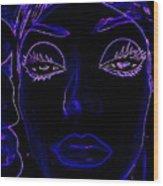 Belinda In Blue Wood Print