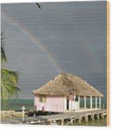 Belize Double Rainbow Wood Print