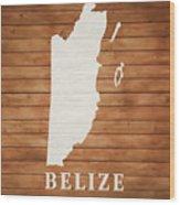 Belize Rustic Map On Wood Wood Print